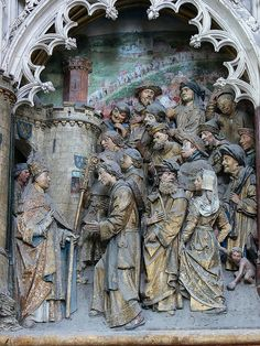 St. Firmin Polychrome Relief, Amiens Cathedral, c. 1490 - 1530    http://professor-moriarty.com/info/en/section/sculpture/gothic-sculpture-st-firmin-polychrome-reliefs-amiens-cathedral