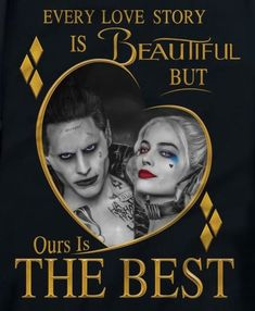 I think this is beautiful but honestly I know that the joker and Harley Quinns love story was actually really disturbing. It looked all cute in suicide squad but really she was tortured until she broke and became a different person. But this pic is still cute.