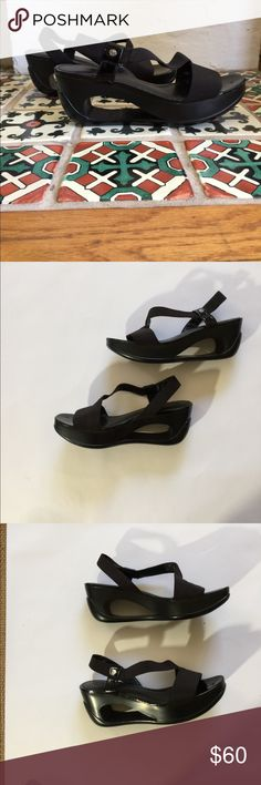 "Calvin Klein Black Cutout Strappy Sandals Size 7 I just adore these Calvin Klein black sandals I bought them but only wore them three times and kept them stored in a box over there really great they have 2 1/2 "" heels. Made from an elastic canvas. You can wear these casual or fancy at all depends on what kind of event you're going to Calvin Klein Shoes Sandals"