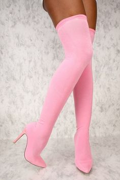 If you live for all pink everything and inspired FASHION , than these Sexy Pink Stretchy Thigh High boots are for you! Stiletto Boots, High Heel Boots, Heeled Boots, Bootie Boots, Gladiator Boots, High Heels, Pink Knee High Boots, Pink Boots, Sexy Boots