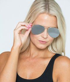 Mango Silver Flat Mirrored Lens Large Mens Womens Aviator Sunglasses