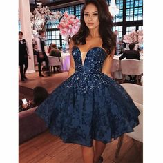 Newest A-Line Sweetheart Sexy Blue Lace Homecoming Dress with Beading, short prom dresses, PD0107#promdress #promdresses2020 #2020prom #satinpromdress #promdresseslong #promdresses