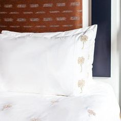 Palmier Pillowcase Pair – Elizabeth Scarlett Embroidered Bedding, Bed Duvet Covers, Linen Bedding, Luxury Bedding, Sale Items, Home Accessories, Bed Pillows, Pillow Cases, Pairs