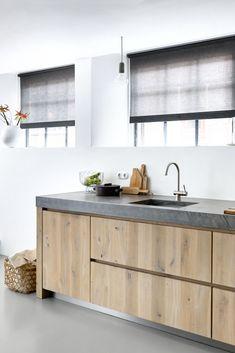 Cute Kitchen, Kitchen Dinning, Kitchen Decor, Kitchen Storage, Kitchen Faucets Pull Down, Kitchen Nightmares, Freestanding Kitchen, Concrete Kitchen, Wood Countertops