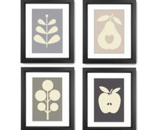 Vegetable prints Set of 4 prints Four seasons by lucileskitchen