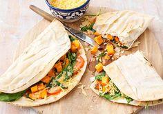 Receptenarchief Quesadilla's met spinazie, zoete aardappel en verse tijm  met Libanees brood Recept
