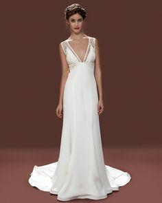 Vintage style wedding dresses london, 1930s empire line, giupure lace, deep v neck wedding dress, Lara Hannah Alberta