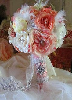 Peachy Pink Sweet Georgia Bouquet 2 Reserved by whiteriver51, $345.00