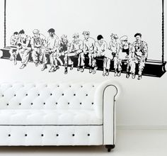 Put this fantastic vinyl from the famous New York workers photo in your living room! #newyork #wallstickers #decoration
