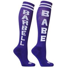 SoxBox Barbell Babe Purple/White Knee High Socks Worn/washed once.  Comes from a smoke-free, but not pet-free home. ➡️ Offers welcomed.  No trades. No holds.  Fast shipping!  Saving up for my wedding, so considering all reasonable offers! The Sox Box Accessories Hosiery & Socks