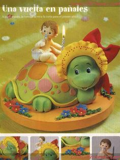 lovelytutorials: adorable turtle! Cake Decorating Books, Wilton Cake Decorating, Cake Decorating Tutorials, Fondant Animals Tutorial, Cupcake Cakes, 3d Cakes, Cute Clay, Miniature Crafts, Sugar Art