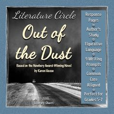 Out of the Dust by Karen Hesse: This historical fiction novel written in verse is jam-packed with strong writing, voice, stunning imagery, and figurative language that will leave the story lingering in students' minds long after the last page has been read! Whether used with whole-class instruction, small groups, academic intervention services, tutoring, or for independent reading, this packet is designed to prompt students to think deeply about the text and to show evidence of their thinking.