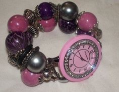 Purple and Pink Chunky Beaded Interchangeable Watch by BeadsnTime, $25.00