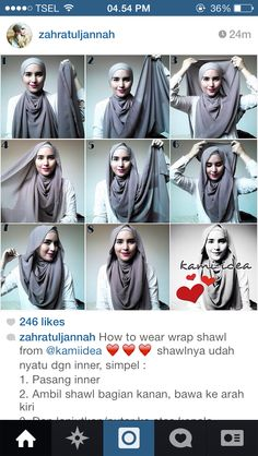 Hijab tutorial. This style can be used with a flowy, jersey hijab.