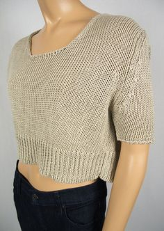 HACHE Tan Crop Sweater 38 M 100% Linen Open Knit Made In Italy Boxy Fit