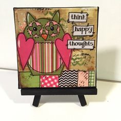 Owl Print, Think Happy Thoughts, Print and Easel Set