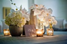 modern wedding reception decor white orchids centerpieces, I Love this! Modern Wedding Centerpieces, Modern Wedding Reception, Wedding Reception Decorations, Hotel Wedding, Wedding Table, Wedding White, Simple Centerpieces, White Weddings, Reception Table