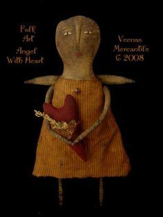 Angel with heart...A Folk Art Design Artist Doll Pattern Designed & Created By Kim Kohler Of Veenas Mercantile