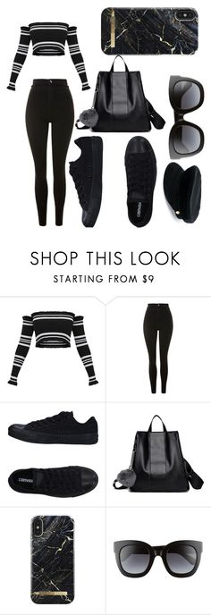 """wearing black in style"" by dmsnook ❤ liked on Polyvore featuring Topshop, Converse, Gucci and Manokhi"