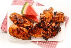 Grilling this Memorial Day? Be sure to throw on some Watermelon Chicken with Balsamic Glaze! Watermelon Chicken, Watermelon Rind, Balsamic Glazed Chicken, Tandoori Chicken, Chicken Wings, Grilling, Meat, Ethnic Recipes, Food