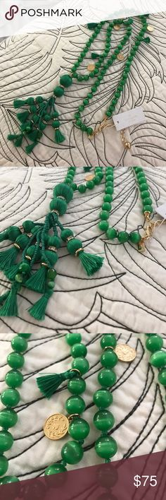 Kate Spade long tassel green necklace NWT NWT Kate Spade long tassel Green  necklace , beautiful true green and tassels with rhinestone detail! kate spade Jewelry Necklaces