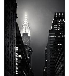 New York Chrysler Building Art Print, Black and White Photography, Home Decor for Men Dudes - Fog City
