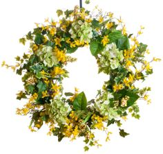 $159  SW133  Green Hydrangea & Forsythia Silk Wreath - This designer wreath is created on an all natural grapevine base and accented with green hydrangea, light green berries and yellow forsythia and finished with ivy greenery.  See more at: http://www.darbycreektrading.com/Spring-Wreaths-C265.aspx