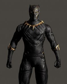 Una figura de acción de Black Panther muestra los detalles del traje de Civil War retocado  en oro