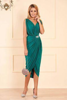 Rochie verde de ocazie petrecuta cu un croi mulat din material subtire accesorizata cu pietre stras I Dress, One Shoulder, Formal Dresses, Casual, Wedding, Shopping, Clothes, Fashion, Tulle