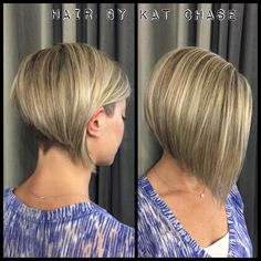 Blonde highlights with undercut and bob