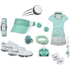 Golf Ladies Outfit Teal Golf outfit, created by preppedandready. I have never been golfing but i like this outfit - A fashion look from April 2009 featuring white skirt, blue jewellery and stud earrings. Browse and shop related looks. Golf Attire, Golf Outfit, Skort Outfit, Girls Golf, Ladies Golf, Golf Mk4, Golf Cart Accessories, Golf Exercises, Golf Wear