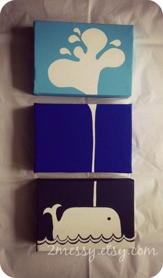 Three Canvas Whale Art by 2Messy on Etsy, $34.00