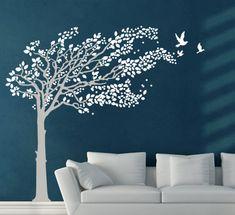 ALBERO AL VENTO E UCCELLI adesivo murale 96€ MADE IN ITALY