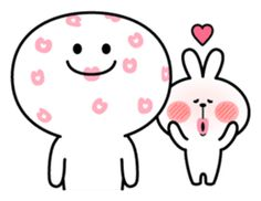 A lot of affection of Spoiled Rabbit. Cute Love Memes, Cute Love Pictures, Cute Bear Drawings, Cute Cartoon Images, Cute Couple Art, Love Stickers, Cute Anime Couples, Cat Emoji, Cute Wallpapers
