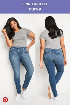 """Model is 5'11"""" and wears size 14. This curvy skinny style might be your new go-to. Our latest denim fit is designed just for the curvy woman. They're cut to better fit through the waist, hips and thighs, so you can say goodbye to annoying gapping waistlines. With a higher rise in the back, more room in the thighs and hips, and Extra Life Lycra, you've got a fit that's stretchy, durable and ultra-flattering."""