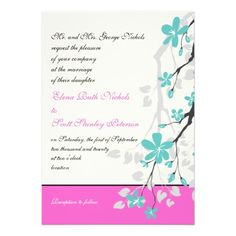 pink, grey, and turqouise wedding   Magnolia flowers turquoise, hot pink wedding personalized invite