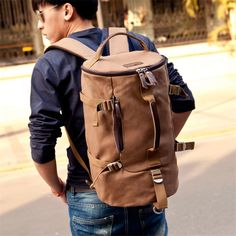 New Brown Men's Vintage Canvas Leather Hiking Travel Military Messenger Tote Bag