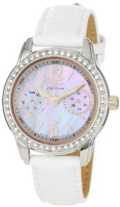 Citizen Women's FD1036-09D Silhouette Eco Drive Watch Citizen. $176.25. Mineral crystal. Water-resistant to 33 feet (10 M). Eco drive technology is fueled by light and it never needs a battery. Day and date. Swarovski crystals. The Citizen Eco-Drive Story                The Silhouette Crystal Collection Mother-of-pearl dials and Swarovski crystal bezels are the highlights of this collection.Summary of Features• Mother-of-Pearl Dial• Swarovski Crystal Bezel•...