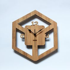 Unique Bamboo Wall Clock Retro Cube by HOMELOO on Etsy, $39.99