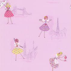 Super cute European fairy wallpaper with a radiant orchid color palette Purple European Party - Fairy Tea Time - Brewster Wallpaper Fairy Wallpaper, Home Wallpaper, Brewster Wallpaper, Orchid Color, Time Kids, Color Of The Year, Kids Decor, Decor Ideas, Vintage Tea