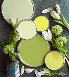 Inspired by trips through flowerbeds, vegetable plots, and produce aisles, this yellow-tinted green palette makes every day feel like spring. Granny Smith apple green takes on the starring role; supporting players include peapod, celery, lemon, and kiwi. Bright whites, seen here as tulip petals, round out the fresh-picked palette./