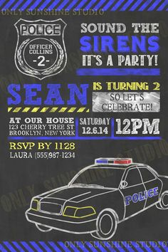 POLICE Printable Invitation, 1st, 2nd, 3rd, 5th, 25th, 30th, 50th, 60th, Birthday Invite, Policeman, Police Car Invite, Cop Retirement on Etsy, $14.00
