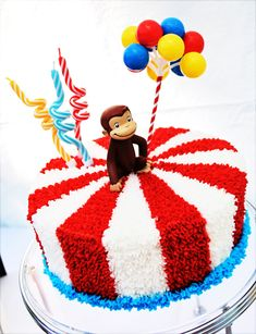 Curious George or Circus Cake Curious George Party, Curious George Cakes, Curious George Birthday, Circus Theme Party, Carnival Birthday Parties, Birthday Fun, Birthday Party Themes, Cake Birthday, Circus Birthday Cakes