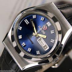 RADO CONWAY AUTOMATIC 17JEWELS DAY&DATE BLUE DIAL RARE SWISS MEN'S VINTAGE WATCH #Rado #LuxuryDressStyles