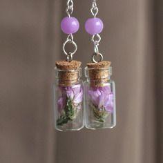 Boucles d'oreilles bouteille en verre fleur séchée lavande de mer mauve - douceur