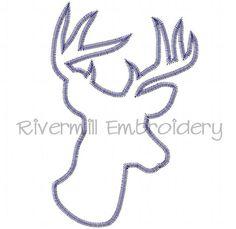 $2.95Large Zig Zag Applique Deer Head Buck Silhouette Machine Embroidery Design