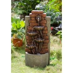 The Jeco Cascading Bowls Wall Indoor / Outdoor Water Fountain brings the soothing sounds of water to your garden or patio space. This fountain is made. Backyard Water Fountains, Patio Fountain, Tabletop Water Fountain, Fountain Design, Indoor Fountain, Wall Fountains, Fountain Ideas, Indoor Waterfall Wall, Indoor Waterfall Fountain