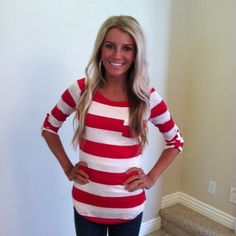 Red and White Striped Pocket Top with Button Ruched Sleeves - Modern Vintage Boutique