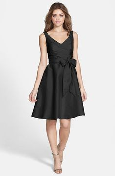 Alfred Sung Satin Fit & Flare Dress with Bow Waist.  #HolidayParty