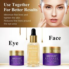 Breylee Retinol Set Anti Aging Firming Facial Serum Eye Cream Face Cream Remove Fine Line Wrinkle Tighten Skin Care Moisturizing Whitening Cream For Face, Whitening Skin Care, Eye Bag Cream, Skin Cream, Facial Cream, Facial Oil, Retinol Face Cream, Scar Removal Cream, Anti Aging Facial